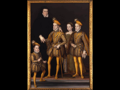 This 1561 portrait depicts Catherine de' Medici standing alongside three of her children, including the newly crowned Charles IX.