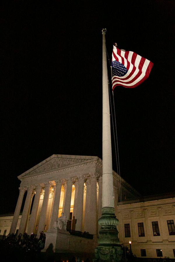 U.S. flag at the Supreme Court flies at half-staff in memory of Ruth Bader Ginsburg thumbnail