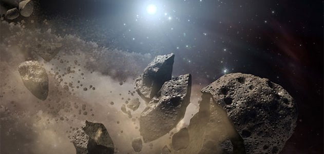 Artist's conception of a broken-up asteroid
