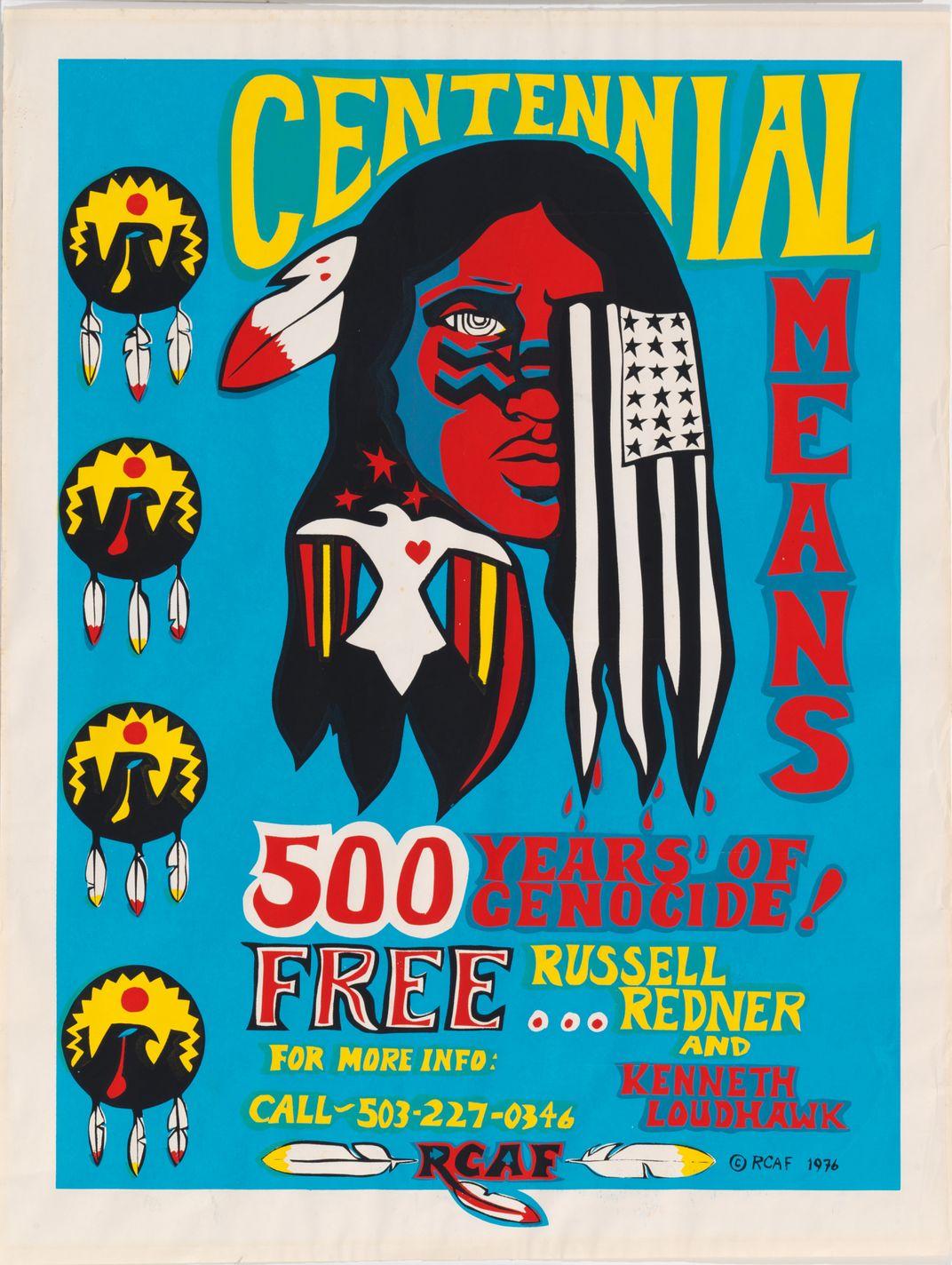 A blue print with a Native American figure and a U.S. flag