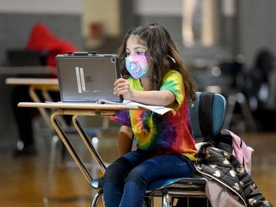 A student does her remote learning at a Boys and Girls Club in Reading, Pennsylvania.