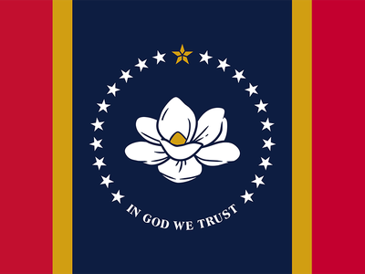 Rocky Vaughan designed the new state flag, which features a magnolia blossom—the state flower—encircled by 20 stars representing Mississippi's status as the 20th state to enter the Union and one star representing Indigenous Native Americans.