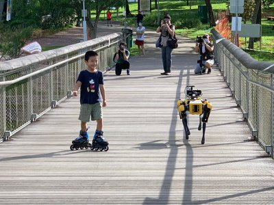 """Spot is a four-legged robotic """"dog"""" that is on patrol in Singapore to ensure proper social distancing measures during COVID-19."""