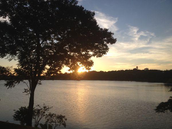 Sun going down in a lake. thumbnail