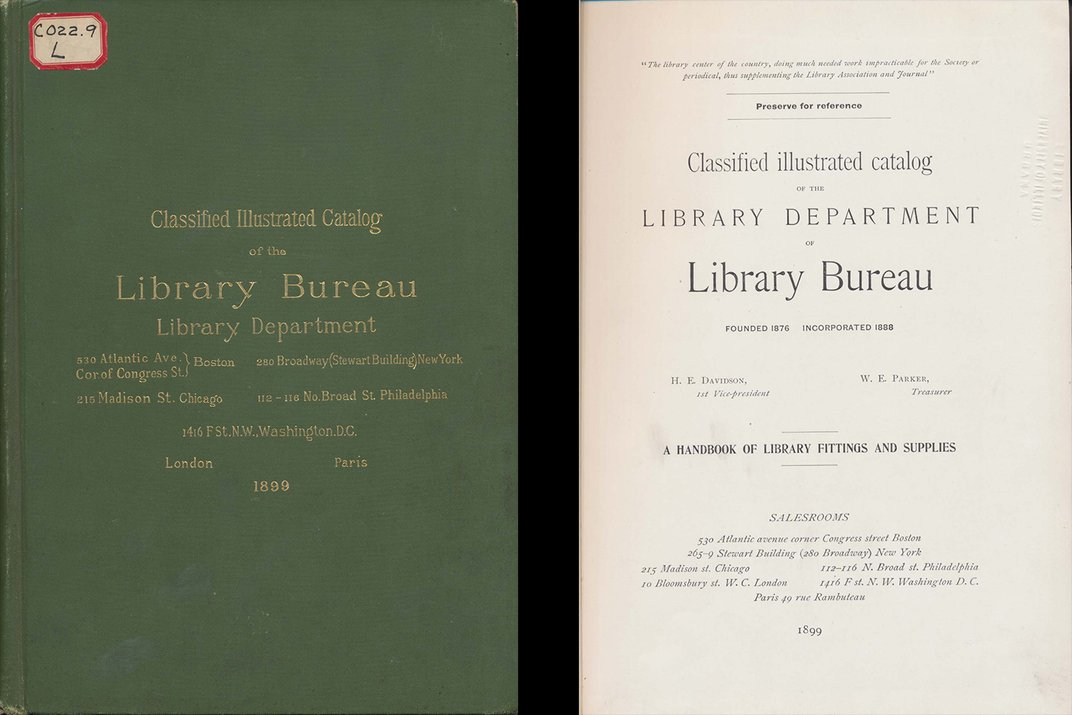 Side by side images of green library supply catalog cover and title page.