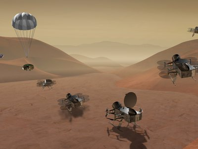 Artists rendering of the Dragonfly craft exploring Titan