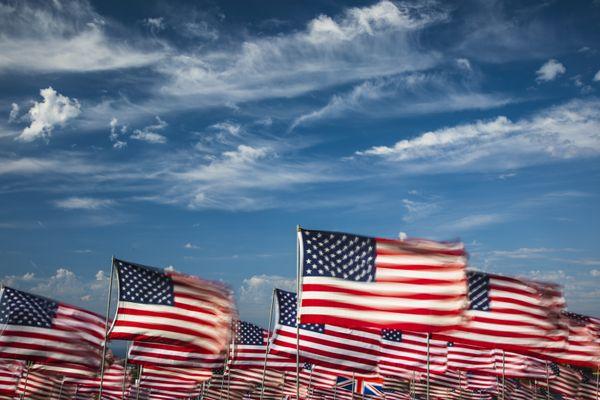 Flags at the 9-11 Memorial In Malibu, California. thumbnail