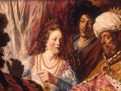 The Feast of Esther, painted by Lievens c. 1625, was identified for years in 20th-century art texts as an early Rembrandt.  Like Rembrandt, Lievens used contrasts of light and shadow to add drama.