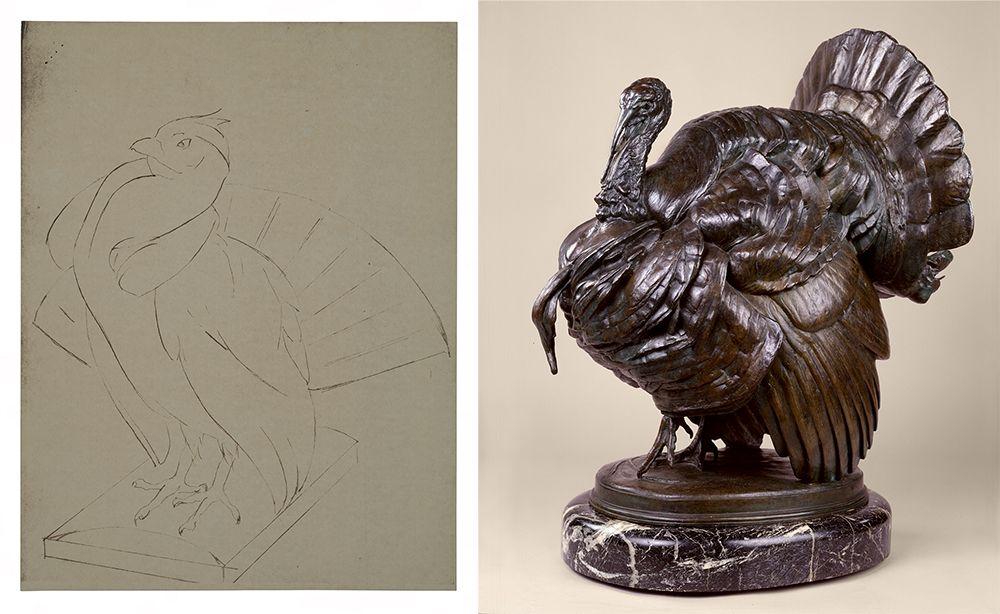 Albert Laessle's sketch and bronze sculpture of a turkey.