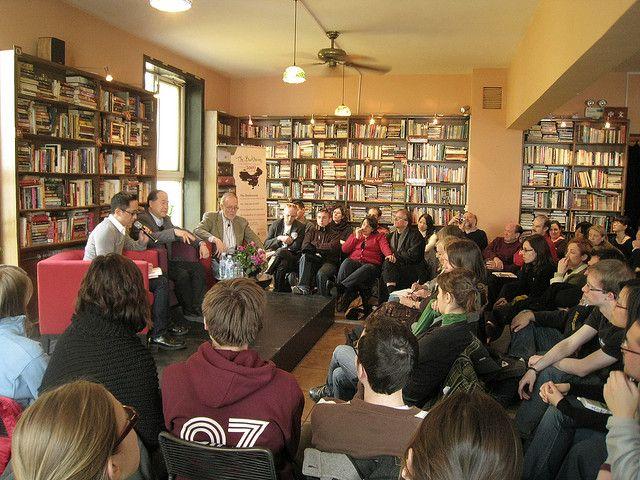 Mo Yan and Chinese literature translator Howard Goldblatt speak at a literary festival.