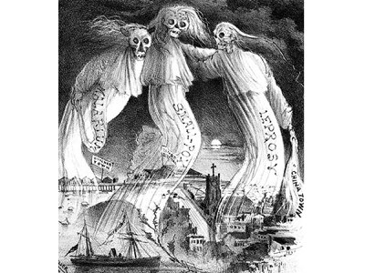 """An illustration from the May 26, 1882 issue of the San Francisco Illustrated Wasp depicts three ghoulish figures called malarium, smallpox and leprosy and one holding a sash that says """"Chinatown."""""""