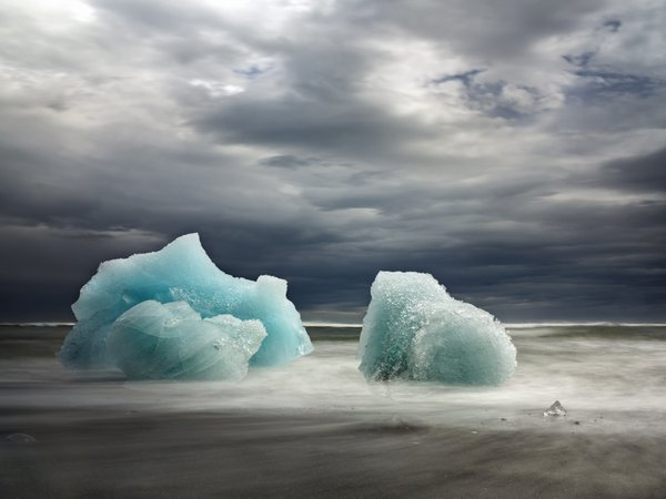 Small icebergs at the Diamond Beach, Iceland. thumbnail