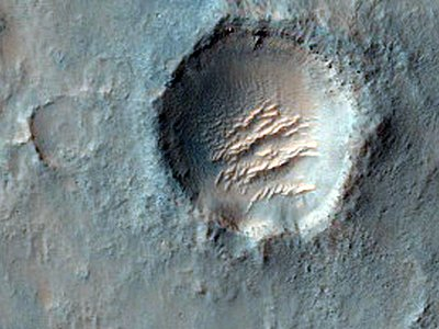 This crater with curious ridges in its center is a possible future site for exploration