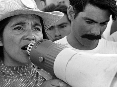 United Farm Workers leader Dolores Huerta organizing marchers on the second day of March Coachella in Coachella, CA 1969