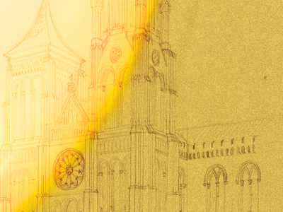 (James Renwick Jr., Sketch of the north tower of the Smithsonian Castle, 1846. Smithsonian Institution Archives. Graphic treatment by Deanna Luu)