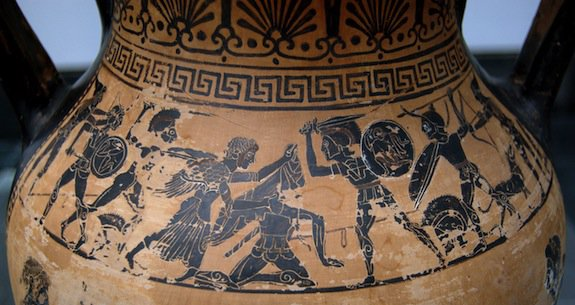 Aphrodite rescuing her son Aeneas