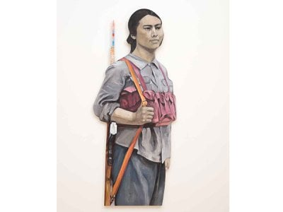 """Titled Avant-Garde, the monumental shaped canvas alludes to Liu as a """"guard"""" of a socialist reality she did not condone."""