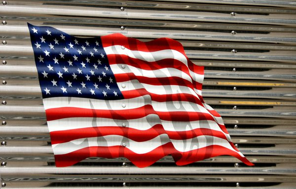 The American Flag on the side of a truck thumbnail