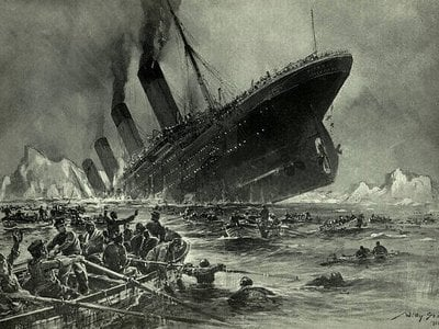 This engraving of the 'Titanic' sinking was made shortly after the event happened, when the world was still reeling from the massive loss of life.