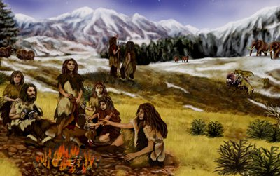 An artist's rendition of a group of Neanderthals living in a mountainous region of Eurasia.