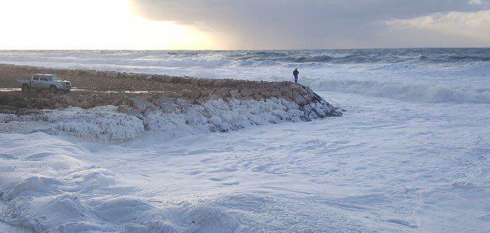 Sea foam at Naqoura Beach, Lebanon