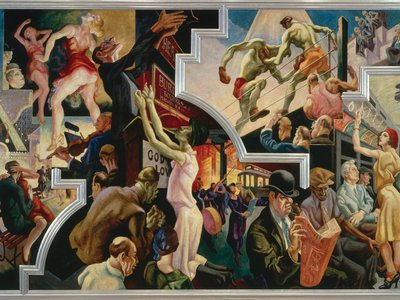 """In his magisterial America Today mural, Benton invented a muscular  style intended to convey """"the language of the street."""""""