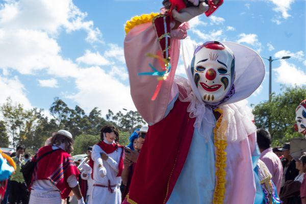 A clown in the andean festivities of El Señor del Árbol de Pomasqui thumbnail
