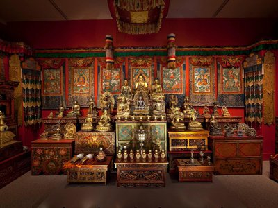 """This resplendent Tibetan shrine room will greet visitors to the Sackler Gallery's upcoming """"Encountering the Buddha"""" exhibition."""