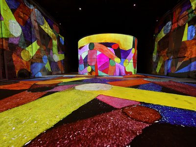 Works by German artist Paul Klee are projected on June 3, 2020, at the Bassins de Lumières digital art center in Bordeaux.