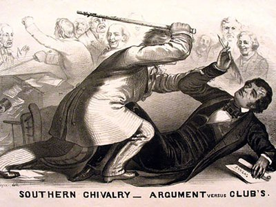 When Charles Sumner spoke out against slavery in 1856, he incurred the violent wrath of congressman Preston Brooks.