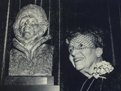 A sculpture of Louise Arner Boyd alongside the subject herself. This bust is part of the Marin History Museum collection in Novata, California.