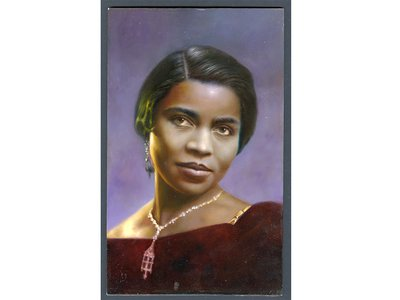 Marian Anderson approved stamp art by Albert Slark, c. 2005. Canadian-born artist Albert Slark created this full-color oil portrait of Marian Anderson from a circa 1934 black-and-white photograph.