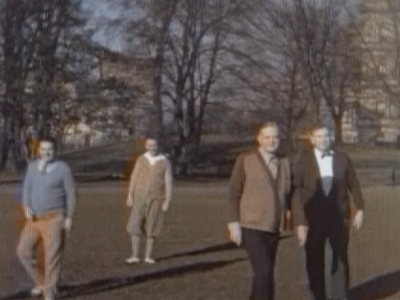 President Herbert Hoover (center right) plays a rousing game of Hooverball on the South Lawn of the White House.