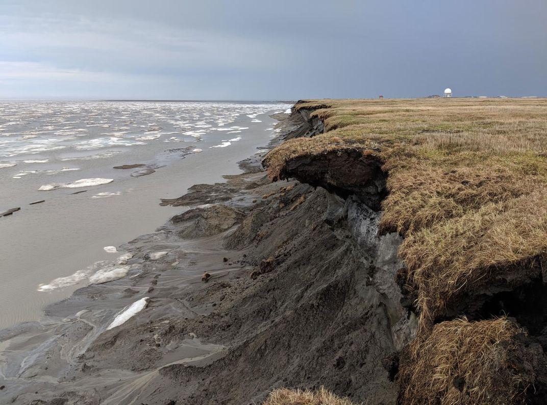 Frozen, seaside cliff in the Arctic