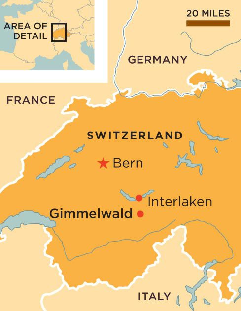 Gimmelwald Switzerland map