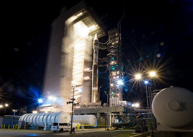 Landsat 8 sits in a United Launch Alliance Atlas-V rocket last night, ready for its 1:00 pm EST launch.