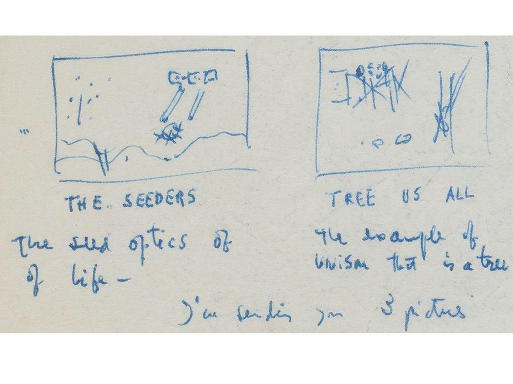 Detail from Roberto Matta letter to Allan Frumkin, circa 1952. Allan Frumkin Gallery records, 1880-2016. Archives of American Art, Smithsonian Institution.