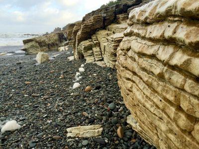Combining carbon dioxide and calcium creates calcium carbonate rocks such as limestone.