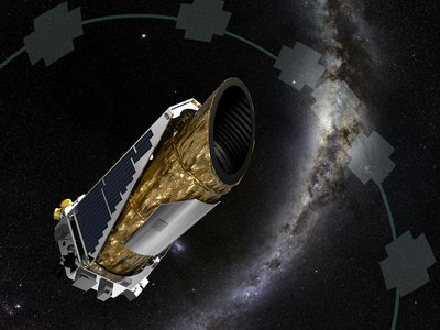 An artist's rendition of Kepler, on the hunt for planets like our own.