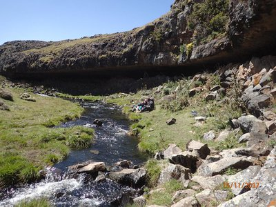 The Fincha Habera rock shelter in the Ethiopian Bale Mountains served as a residence for prehistoric hunter-gatherers.