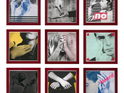 Barbara Kruger, Untitled (We Will No Longer Be Seen and Not Heard), 1985, 9 prints, photo-offset lithograph and screenprint, Smithsonian American Art Museum, Museum purchase, VR.1986.50A-I