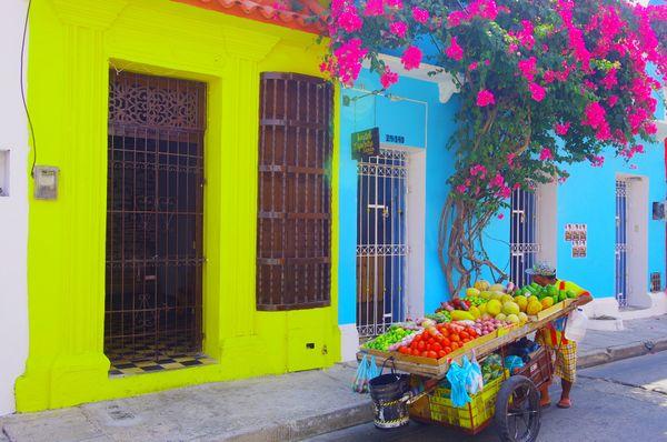 Fruit vendor in historic Cartagena Colombia thumbnail