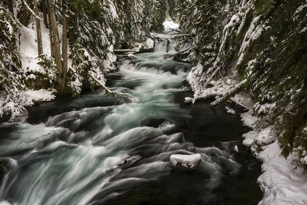 Winter at Wizard Falls, Metolius River, Deschutes National Forest, Oregon thumbnail
