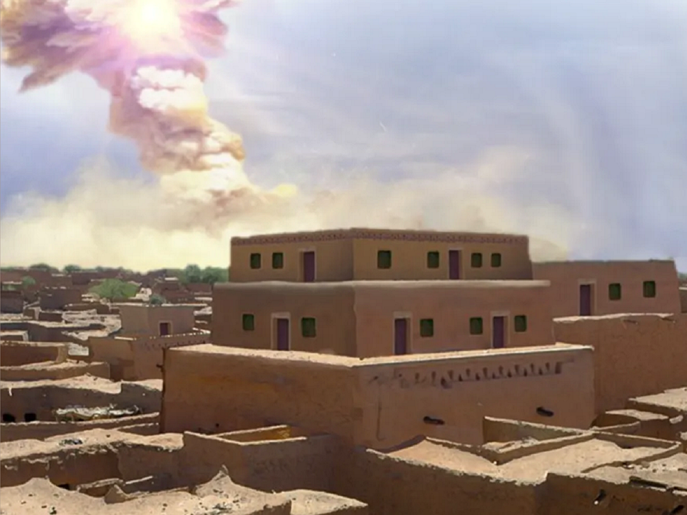 Reconstruction of the blast above a city building