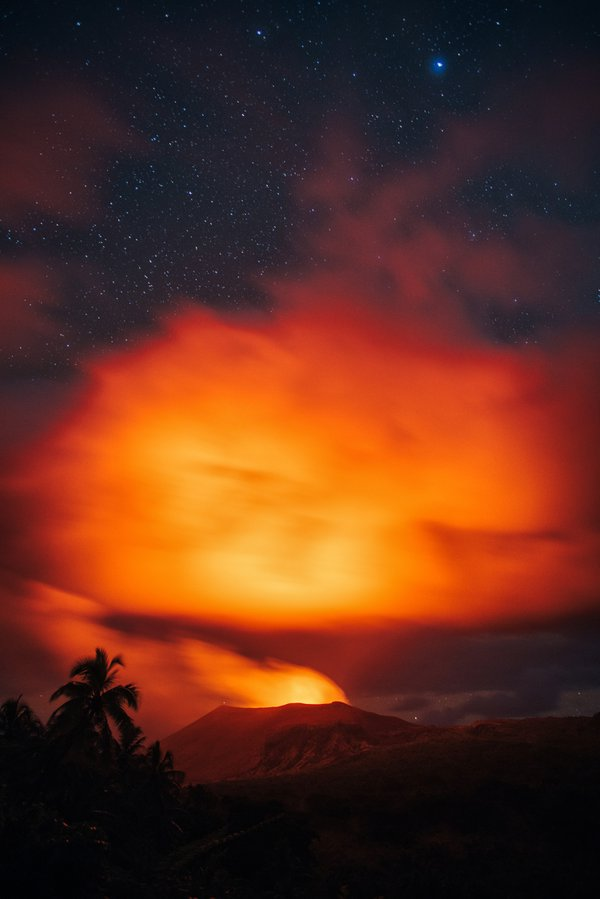 Mt. Yasur at Night with Clouds thumbnail