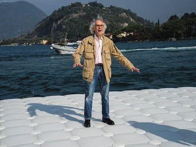 """Construction on Lago d'Iseo, Christo says, was as challenging as """"building a highway."""""""
