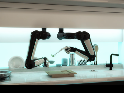 The robotic arms move across the range, cooking and cleaning.