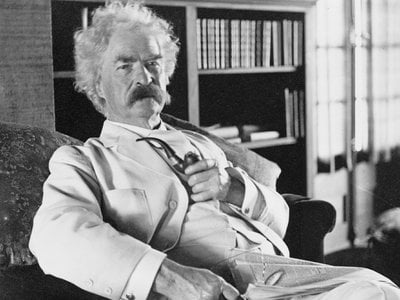 A much older Samuel Clemens, perhaps pondering his next invention.