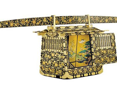 Ceremonial palanquin that was a form of transport favored by warlords in 19th-century Japan.