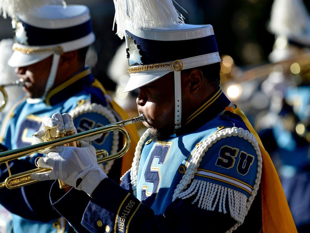 Southern University trumpet player at Rose Parade